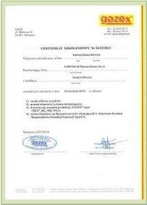 certyfikat szkoleniowy Gazex 1